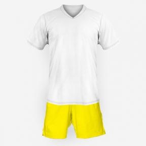 Детская футбольная форма Playfootball (white-yellow)
