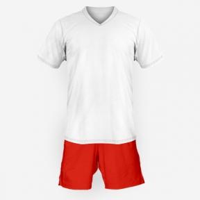 Детская футбольная форма Playfootball (white-red)