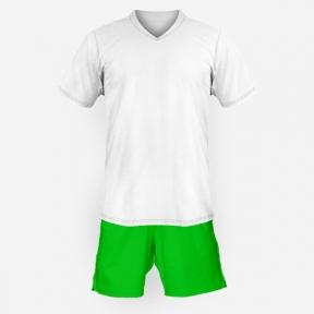Детская футбольная форма Playfootball (white-green)