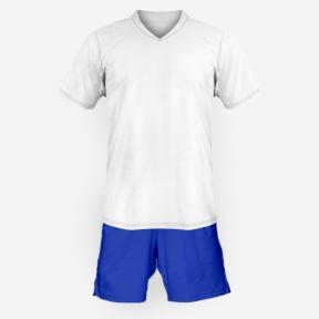 Детская футбольная форма Playfootball (white-blue)