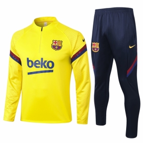 Детский тренировочный спортивный костюм Барселоны 2020/2021 желтый