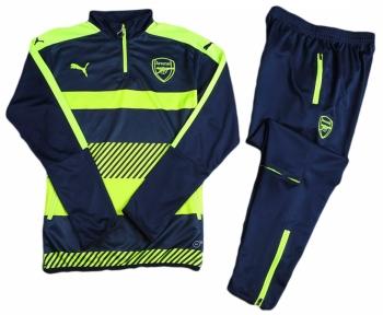 Тренировочный спортивный костюм Арсенала 2016/2017 черно-салатовый