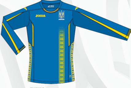 Футболка сборной Украины Joma игровая синяя с длинным рукавом (FFU102012.17)